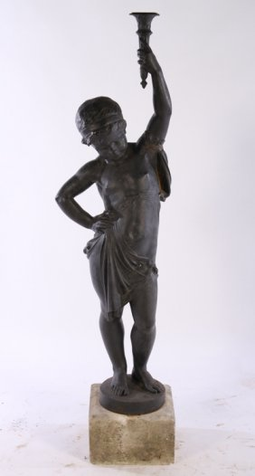 French 19th Cent. Cast Iron Newel Post Figure