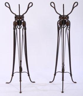 Pr Regency Wrought Iron Bronze Plant Stands 1910
