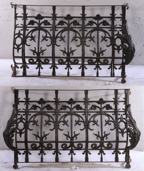 Pair Late 19th C. French Cast Iron Balcony Panels