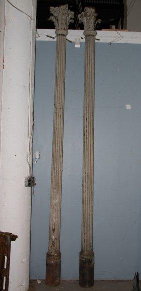 Pair 19th Cent. Cast Iron Fluted Columns