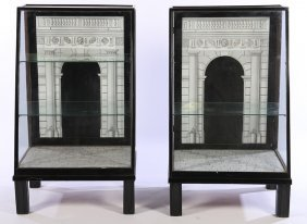 Pair Ebonized Wood Glass Display Cases Fornasetti