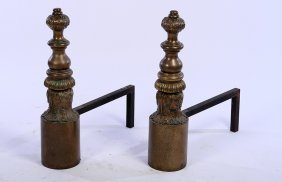 Pair 19th Century Dutch Bronze Andirons