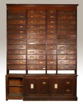 Large 2 Part Mahogany Display Cabinet C.1900