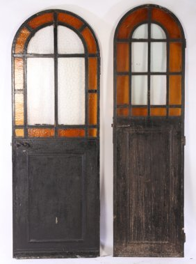 2 Iron Arched Top Wine Cellar Doors 1900