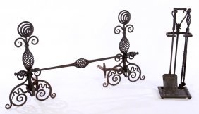 Arts & Crafts Pair Wrought Iron Andirons 1915