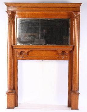 Quater Sawn Carved Oak Fireplace Mantle 1900