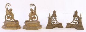 2 Pair French Brass Griffin Form Chenets 1900