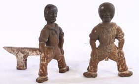 Pair Cast Iron Figural Andirons