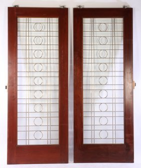Pair Beveled Leaded Glass Doors Grid Design