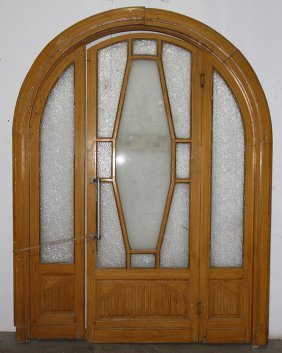 Art Deco Carved Painted Wood Arched Entrance Way
