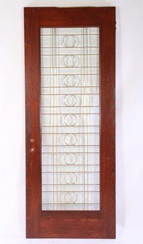 Beveled & Leaded Glass Door W/ Grid Pattern