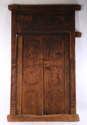 19th Cent. Anglo Indian Carved Wood Entrance