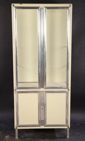 Italian Aluminum Metal 4 Door Vitrine 1930