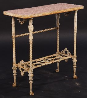 Cast Iron Side Table With Pebble Top Paw Feet
