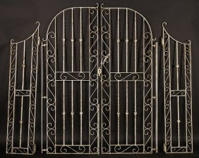 Pair Wrought Iron Gates With Side Lights