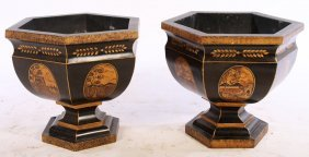 Pair Tole Painted Chinoiserie Decorated Planters