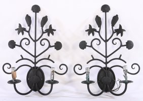 Pair Wrought Iron Marine Themed Sconces