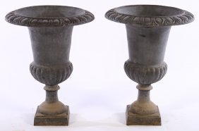 Pair Cast Iron Campagna Form Garden Urns