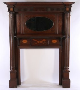 Carved Mahogany Satinwood Adams Style Mantel C.1910