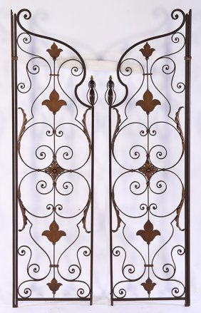 Pair Early 20th C. French Wrought Iron Garden Gates