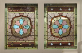 Early 20th C. Stained Glass Window Multi Color