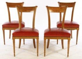 Set 4 Bleached Mahogany Chairs 1950