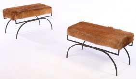 Pair Modern Cowhide Benches Curule Form Bases