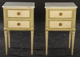 Pair Marble Top Louis Xvi Nightstands 1940