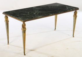 Empire Style Bronze Marble Coffee Table 1950