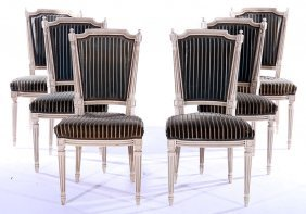 Set 6 Directoire Dining Chairs Upholstered 1910