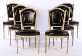 Set Louis Xvi Carved Painted Dining Chairs 1940