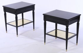 Pair Ebonized Louis Xvi Style End Tables C.1940