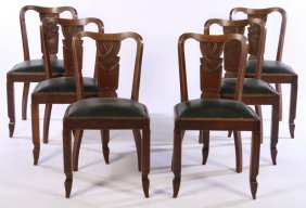 Set Of 6 Early 20th C. Art Deco Oak Dining Chairs