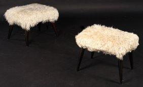Pair Upholstered Goat Hair Benches Ebonized Legs