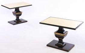 Pr Ebonized Golt Gilt End Tables James Mont C1950