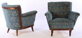 Pr Italian Mahogany Upholstered Club Chairs 1960