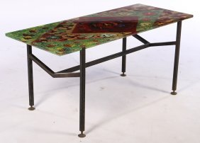 Italian Iron Glass Coffee Table 1960