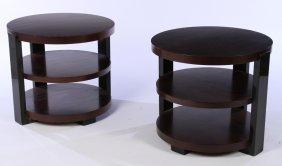 Pair Round 3 Tier Art Deco Tables