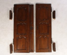 Pair Continental Walnut Armoire Doors 1900