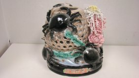 Vtg Asian Pottery Crab Vase