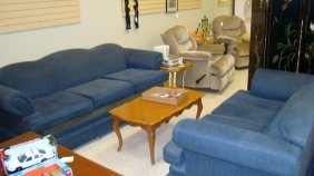 Blue Upholstered Sofa & Love Seat