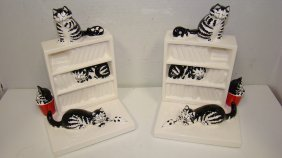 Pr Ceramic Cat Bookends