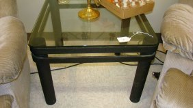 Blk Metal Glass Top Side Table