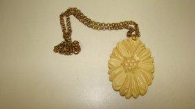 Vintage Carved Custard Flower Pendant