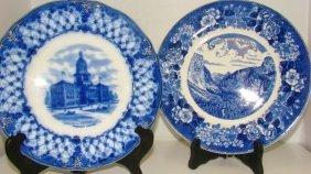 2 Vintage Blue & White Historical Plates