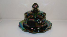 Victorian Style Carnival Glass Covered Butter