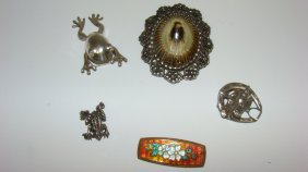 5 Vintage Brooches-3 Sterling