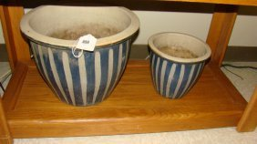 2 Blue & Gray Strped Pottery Garden Pots