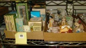 2 Boxes-avon Bottles & Cat Collectibles
