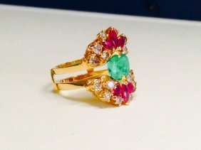 Emerald, Ruby & Diamond Cocktail Ring